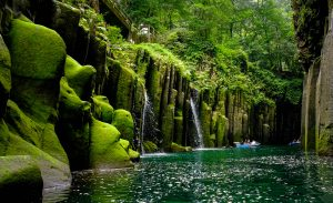 Moss covers Takachiho Gorge